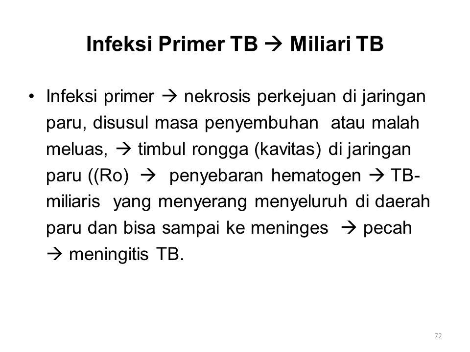 Infeksi Primer TB  Miliari TB Infeksi primer  nekrosis perkejuan di jaringan paru, disusul masa penyembuhan atau malah meluas,  timbul rongga (kavi