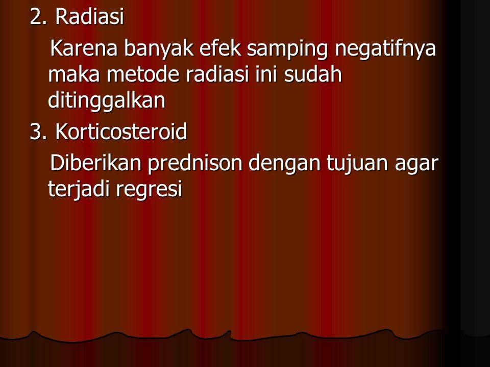 2. Radiasi Karena banyak efek samping negatifnya maka metode radiasi ini sudah ditinggalkan Karena banyak efek samping negatifnya maka metode radiasi