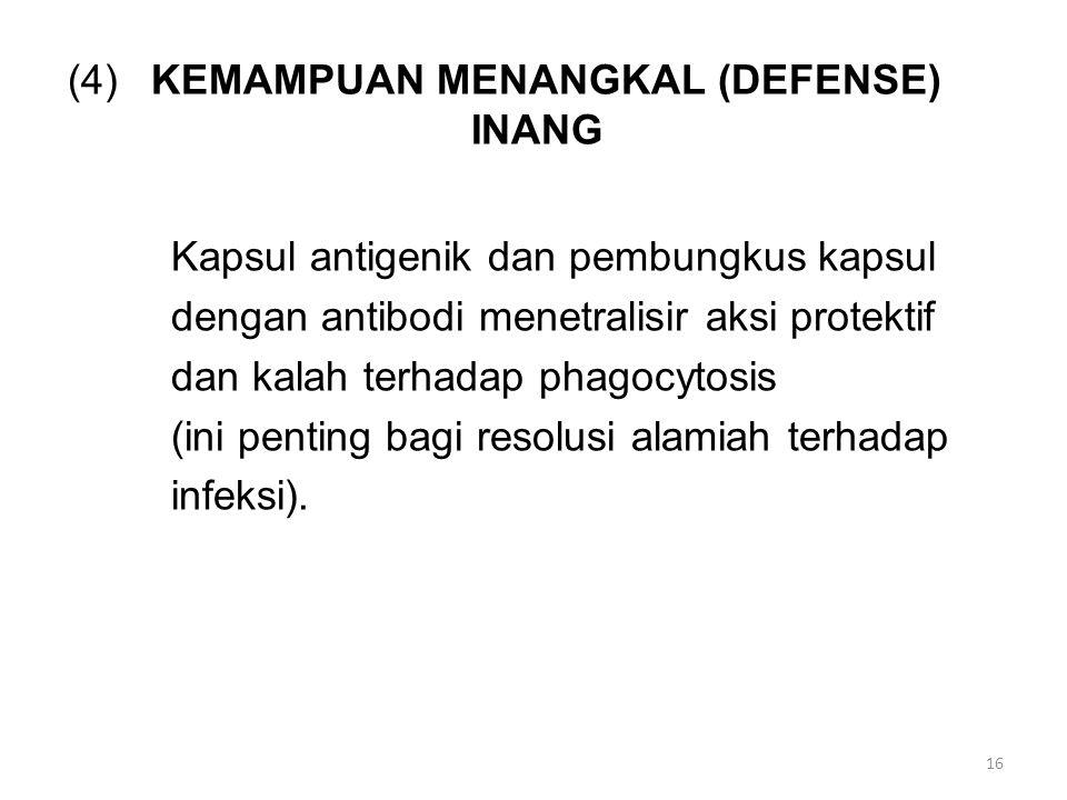 (4)KEMAMPUAN MENANGKAL (DEFENSE) INANG Kapsul antigenik dan pembungkus kapsul dengan antibodi menetralisir aksi protektif dan kalah terhadap phagocytosis (ini penting bagi resolusi alamiah terhadap infeksi).