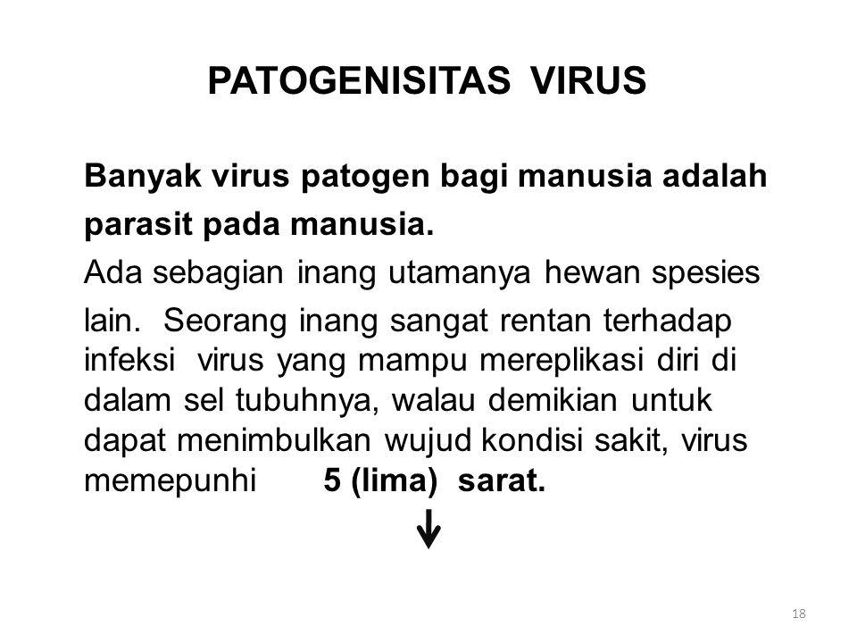 PATOGENISITAS VIRUS Banyak virus patogen bagi manusia adalah parasit pada manusia.