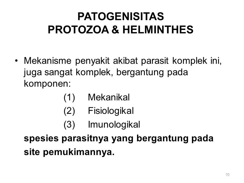 PATOGENISITAS PROTOZOA & HELMINTHES Mekanisme penyakit akibat parasit komplek ini, juga sangat komplek, bergantung pada komponen: (1)Mekanikal (2)Fisiologikal (3)Imunologikal spesies parasitnya yang bergantung pada site pemukimannya.