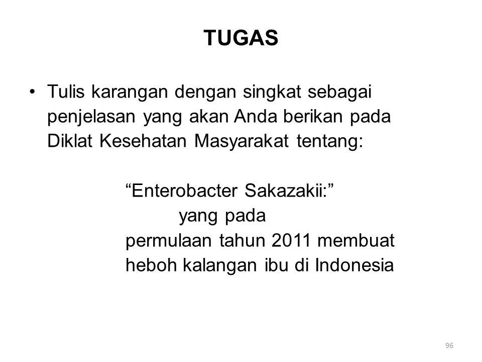 TUGAS Tulis karangan dengan singkat sebagai penjelasan yang akan Anda berikan pada Diklat Kesehatan Masyarakat tentang: Enterobacter Sakazakii: yang pada permulaan tahun 2011 membuat heboh kalangan ibu di Indonesia 96
