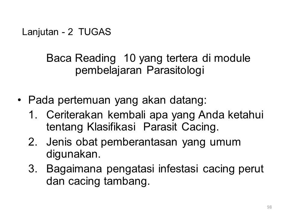 Lanjutan - 2 TUGAS Baca Reading 10 yang tertera di module pembelajaran Parasitologi Pada pertemuan yang akan datang: 1.Ceriterakan kembali apa yang Anda ketahui tentang Klasifikasi Parasit Cacing.