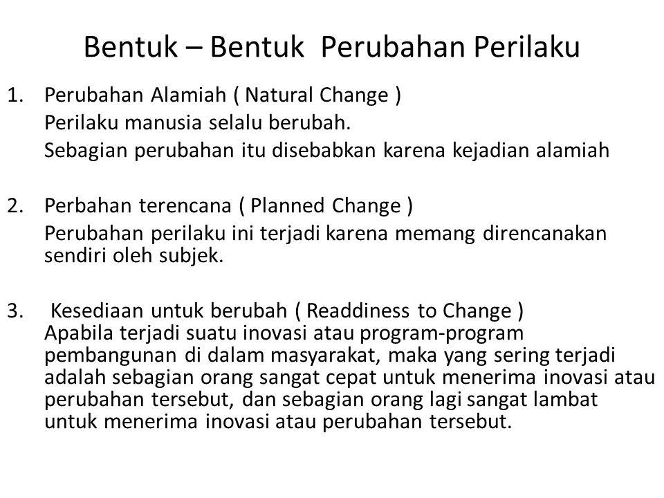 Bentuk – Bentuk Perubahan Perilaku 1.Perubahan Alamiah ( Natural Change ) Perilaku manusia selalu berubah. Sebagian perubahan itu disebabkan karena ke