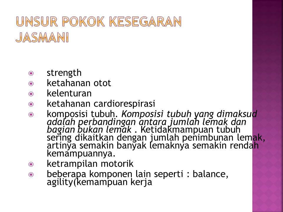  strength  ketahanan otot  kelenturan  ketahanan cardiorespirasi  komposisi tubuh. Komposisi tubuh yang dimaksud adalah perbandingan antara jumla