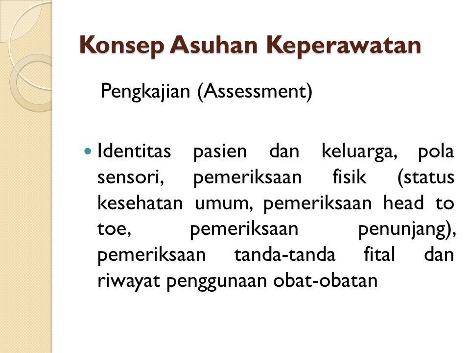 Konsep Asuhan Keperawatan Pengkajian (Assessment) Identitas pasien dan keluarga, pola sensori, pemeriksaan fisik (status kesehatan umum, pemeriksaan h
