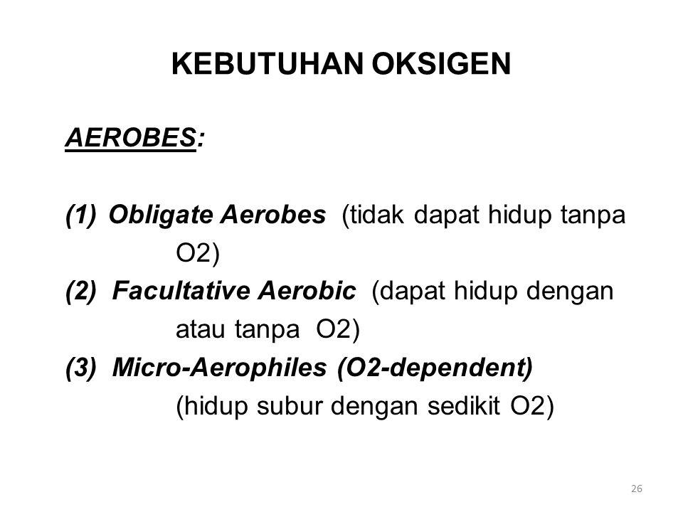 KEBUTUHAN OKSIGEN AEROBES: (1)Obligate Aerobes (tidak dapat hidup tanpa O2) (2) Facultative Aerobic (dapat hidup dengan atau tanpa O2) (3) Micro-Aerop