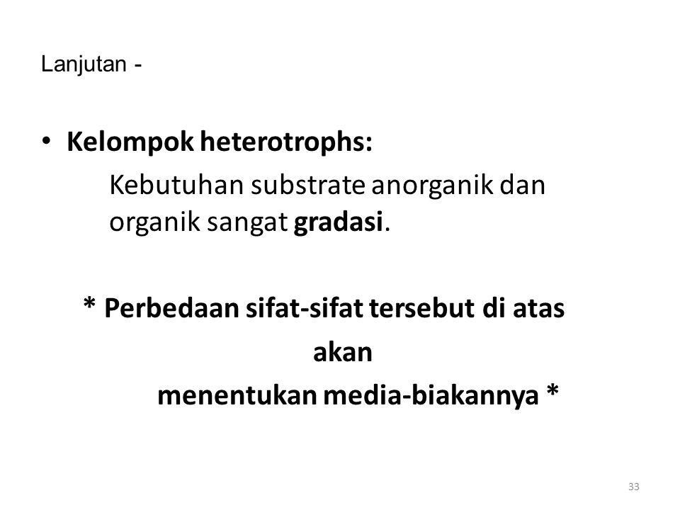 Lanjutan - Kelompok heterotrophs: Kebutuhan substrate anorganik dan organik sangat gradasi. * Perbedaan sifat-sifat tersebut di atas akan menentukan m