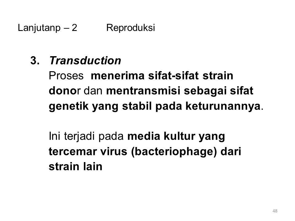 Lanjutanp – 2Reproduksi 3.Transduction Proses menerima sifat-sifat strain donor dan mentransmisi sebagai sifat genetik yang stabil pada keturunannya.