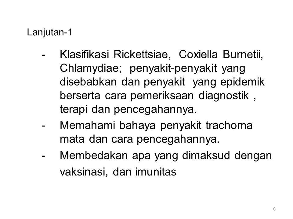 Lanjutan-1 -Klasifikasi Rickettsiae, Coxiella Burnetii, Chlamydiae; penyakit-penyakit yang disebabkan dan penyakit yang epidemik berserta cara pemerik