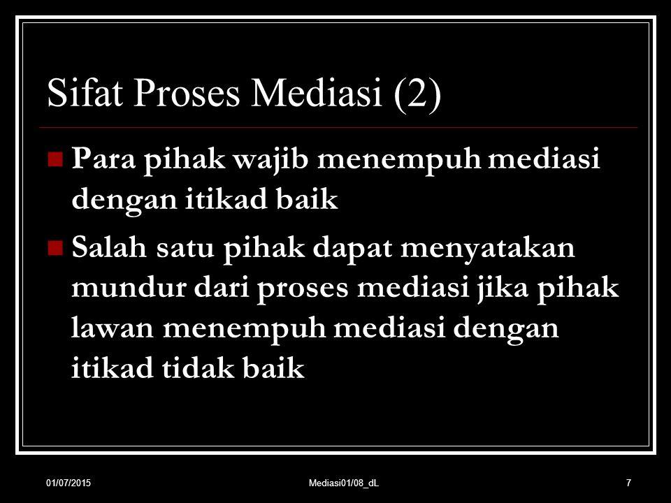 Sifat Proses Mediasi (2) Para pihak wajib menempuh mediasi dengan itikad baik Salah satu pihak dapat menyatakan mundur dari proses mediasi jika pihak