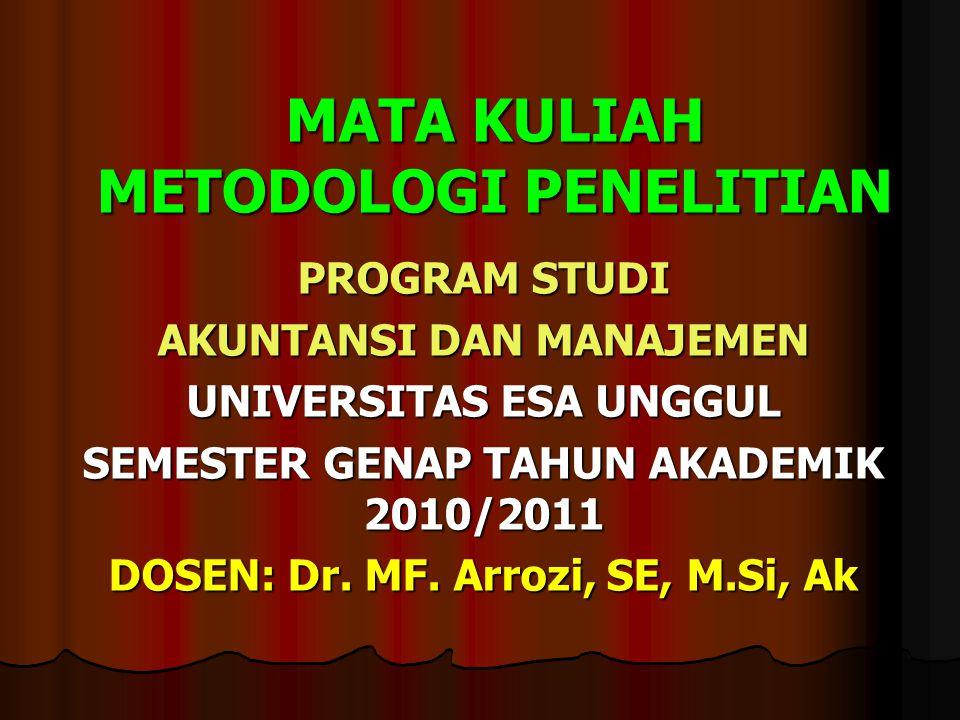 MATA KULIAH METODOLOGI PENELITIAN PROGRAM STUDI AKUNTANSI DAN MANAJEMEN UNIVERSITAS ESA UNGGUL SEMESTER GENAP TAHUN AKADEMIK 2010/2011 DOSEN: Dr.