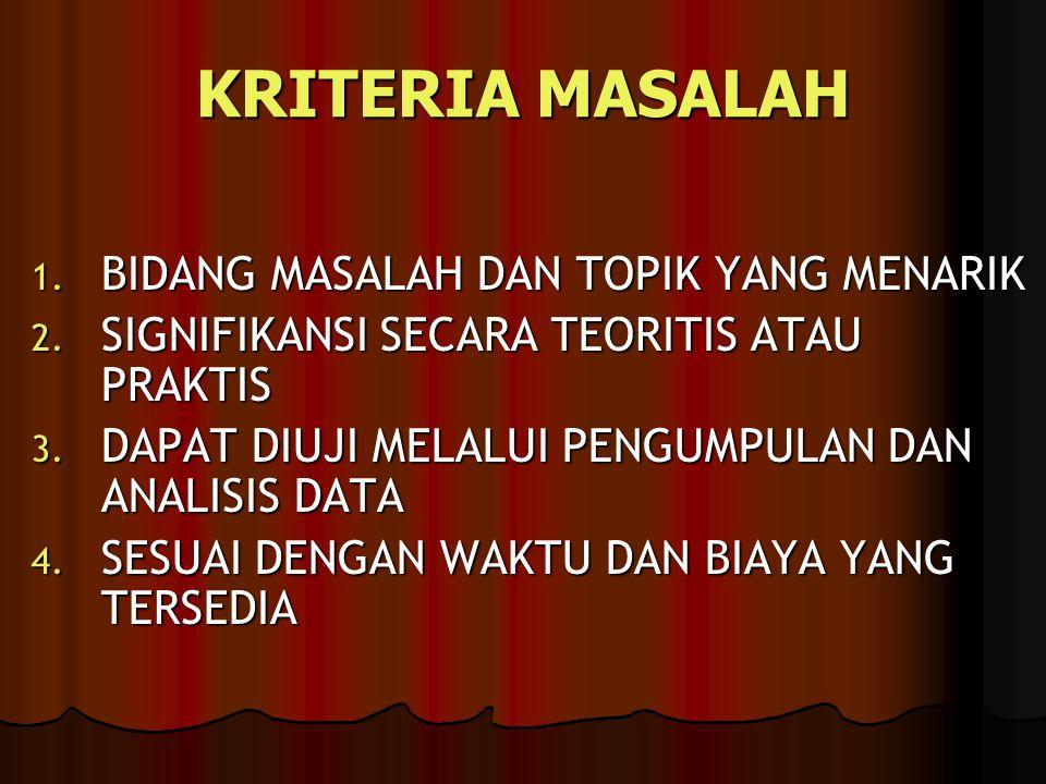 KRITERIA MASALAH 1.BIDANG MASALAH DAN TOPIK YANG MENARIK 2.