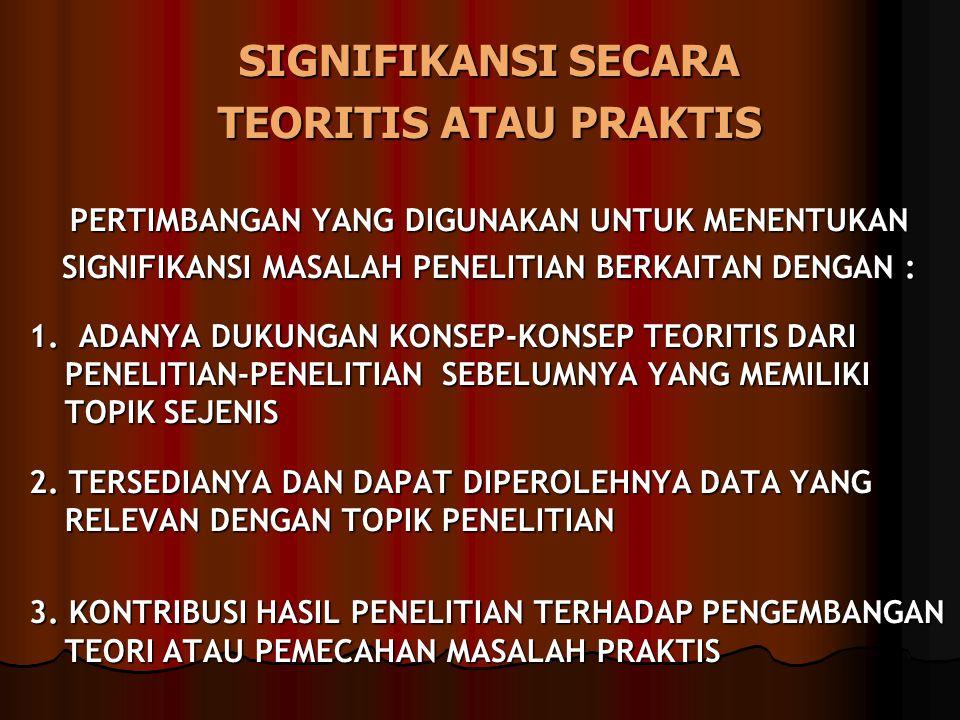 SIGNIFIKANSI SECARA TEORITIS ATAU PRAKTIS PERTIMBANGAN YANG DIGUNAKAN UNTUK MENENTUKAN SIGNIFIKANSI MASALAH PENELITIAN BERKAITAN DENGAN : 1.