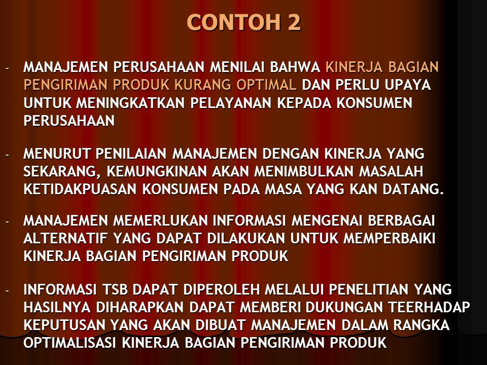 CONTOH 2 - MANAJEMEN PERUSAHAAN MENILAI BAHWA KINERJA BAGIAN PENGIRIMAN PRODUK KURANG OPTIMAL DAN PERLU UPAYA UNTUK MENINGKATKAN PELAYANAN KEPADA KONS