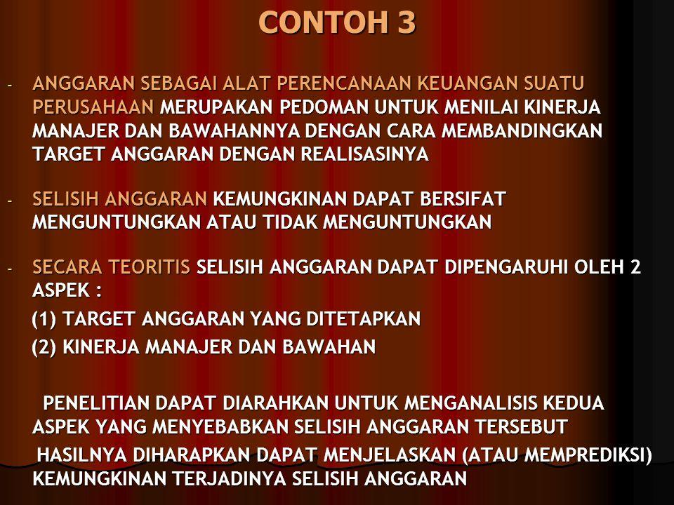 CONTOH 3 - ANGGARAN SEBAGAI ALAT PERENCANAAN KEUANGAN SUATU PERUSAHAAN MERUPAKAN PEDOMAN UNTUK MENILAI KINERJA MANAJER DAN BAWAHANNYA DENGAN CARA MEMB