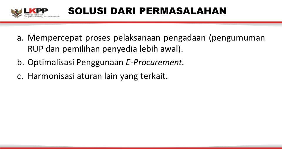 SOLUSI DARI PERMASALAHAN a.Mempercepat proses pelaksanaan pengadaan (pengumuman RUP dan pemilihan penyedia lebih awal).
