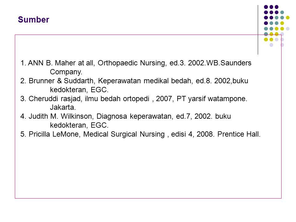 Sumber 1. ANN B. Maher at all, Orthopaedic Nursing, ed.3. 2002.WB.Saunders Company. 2. Brunner & Suddarth, Keperawatan medikal bedah, ed.8. 2002,buku