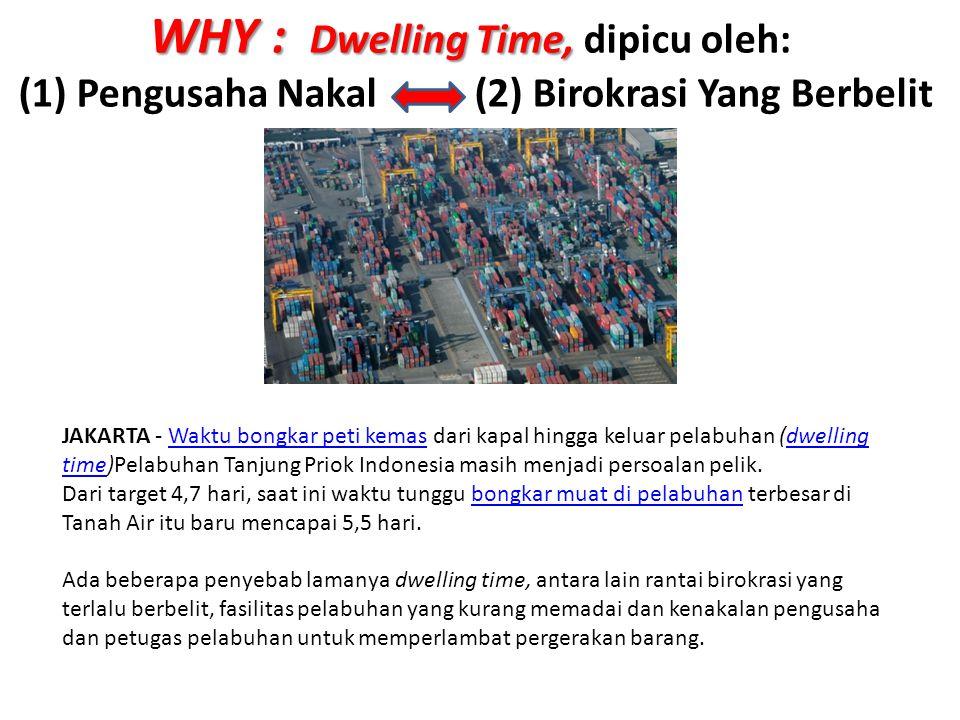 WHY : Dwelling Time, WHY : Dwelling Time, dipicu oleh: (1) Pengusaha Nakal (2) Birokrasi Yang Berbelit JAKARTA - Waktu bongkar peti kemas dari kapal h