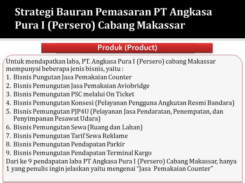 Untuk mendapatkan laba, PT. Angkasa Pura I (Persero) cabang Makassar mempunyai beberapa jenis bisnis, yaitu : 1.Bisnis Pungutan Jasa Pemakaian Counter