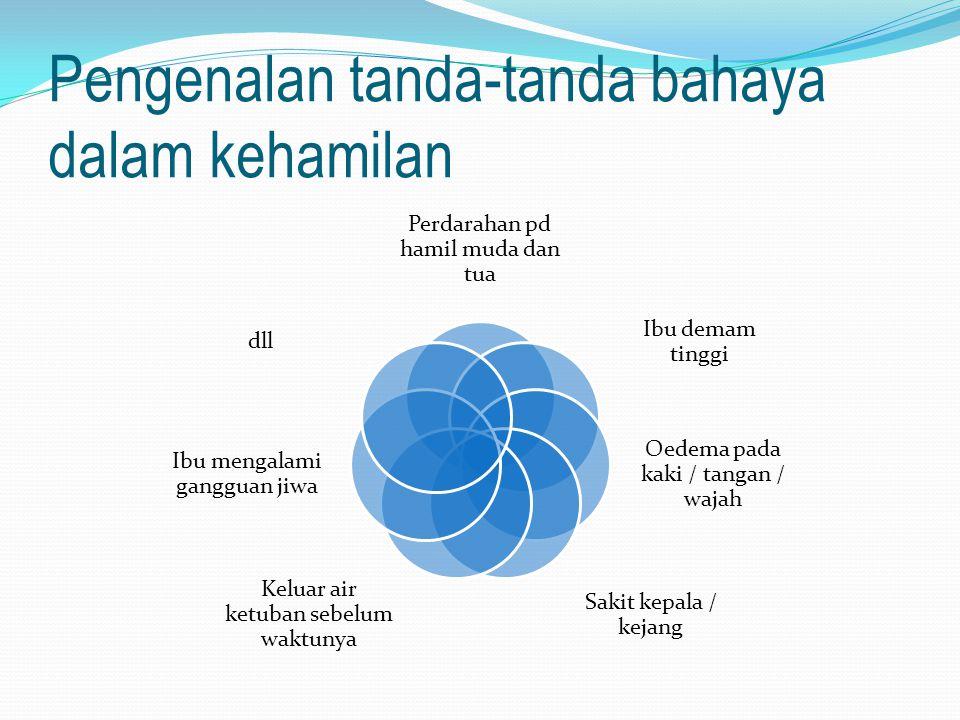 Pengenalan tanda-tanda bahaya dalam kehamilan Perdarahan pd hamil muda dan tua Ibu demam tinggi Oedema pada kaki / tangan / wajah Sakit kepala / kejan