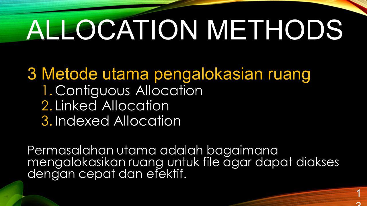 ALLOCATION METHODS 13 3 Metode utama pengalokasian ruang 1.Contiguous Allocation 2.Linked Allocation 3.Indexed Allocation Permasalahan utama adalah ba