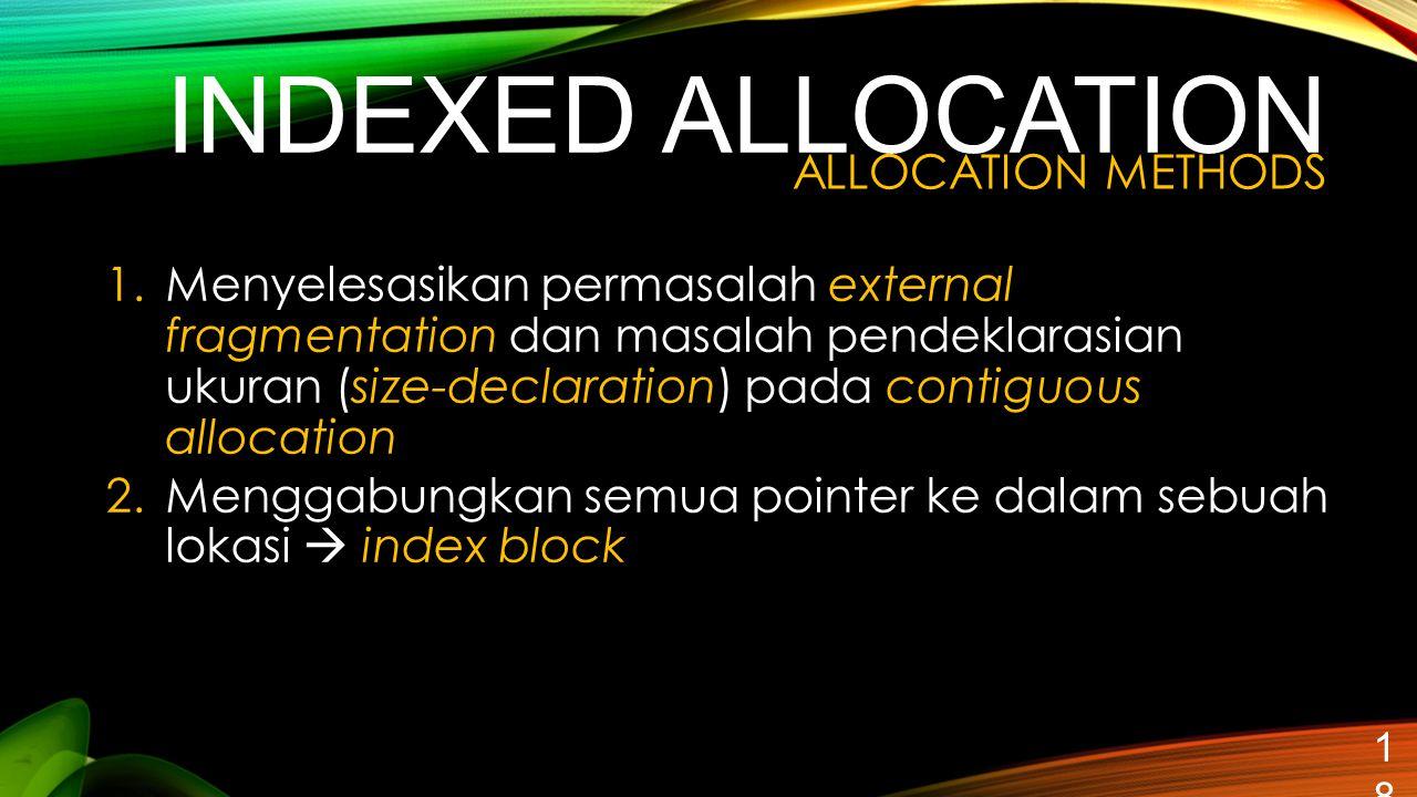 INDEXED ALLOCATION 18 1.Menyelesasikan permasalah external fragmentation dan masalah pendeklarasian ukuran (size-declaration) pada contiguous allocati