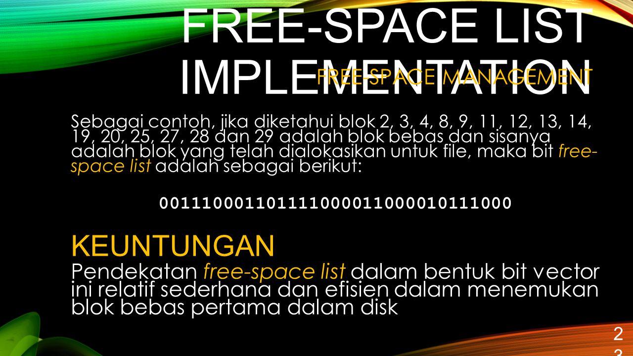 FREE-SPACE LIST IMPLEMENTATION 23 Sebagai contoh, jika diketahui blok 2, 3, 4, 8, 9, 11, 12, 13, 14, 19, 20, 25, 27, 28 dan 29 adalah blok bebas dan s