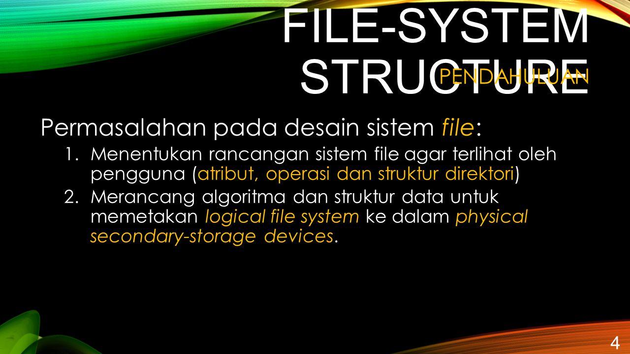 FILE-SYSTEM STRUCTURE 4 PENDAHULUAN Permasalahan pada desain sistem file: 1.Menentukan rancangan sistem file agar terlihat oleh pengguna (atribut, ope
