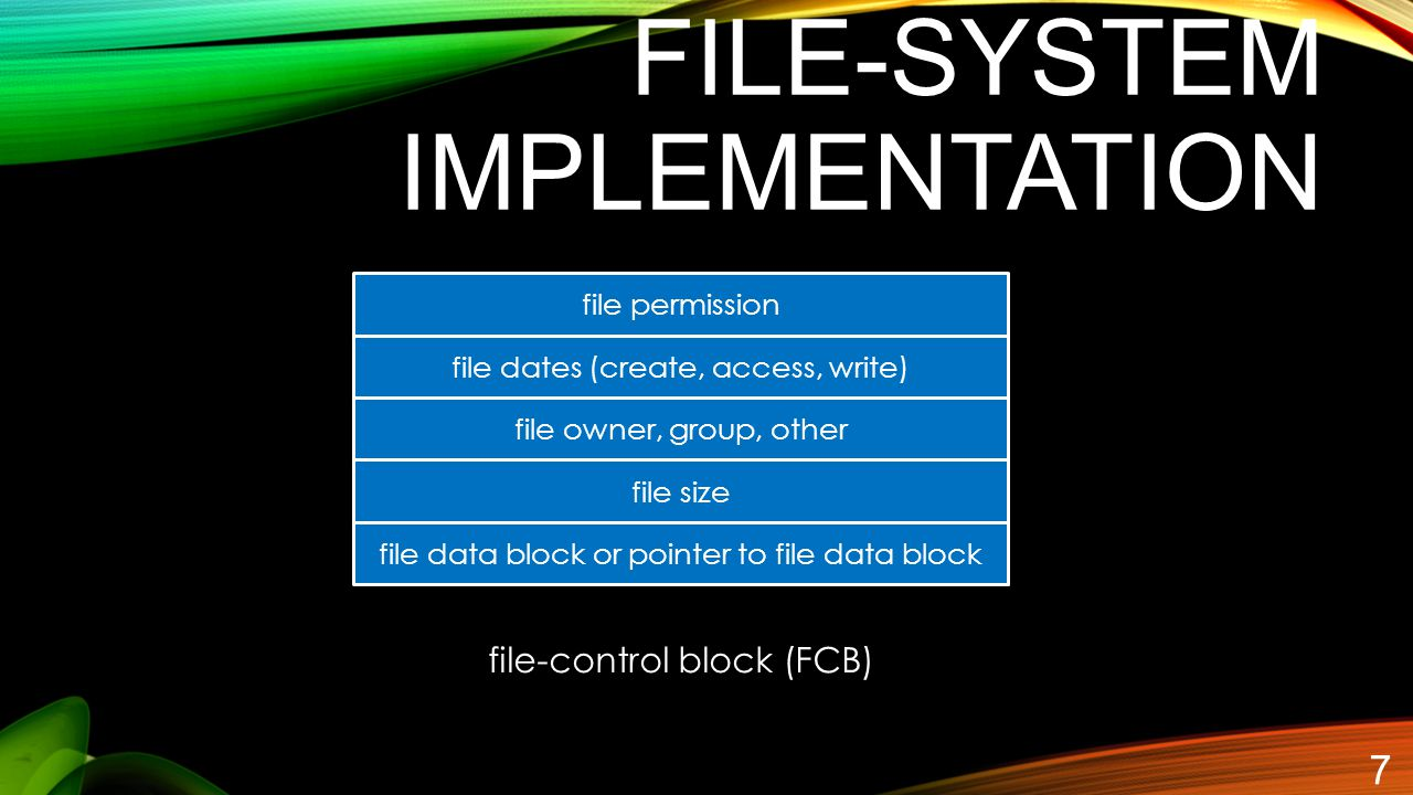 FILE-SYSTEM IMPLEMENTATION 7 file permission file dates (create, access, write) file owner, group, other file size file data block or pointer to file