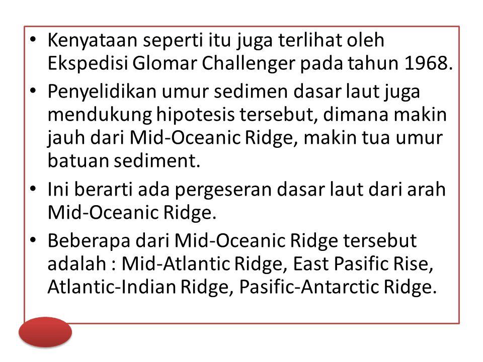 Kenyataan seperti itu juga terlihat oleh Ekspedisi Glomar Challenger pada tahun 1968. Penyelidikan umur sedimen dasar laut juga mendukung hipotesis te