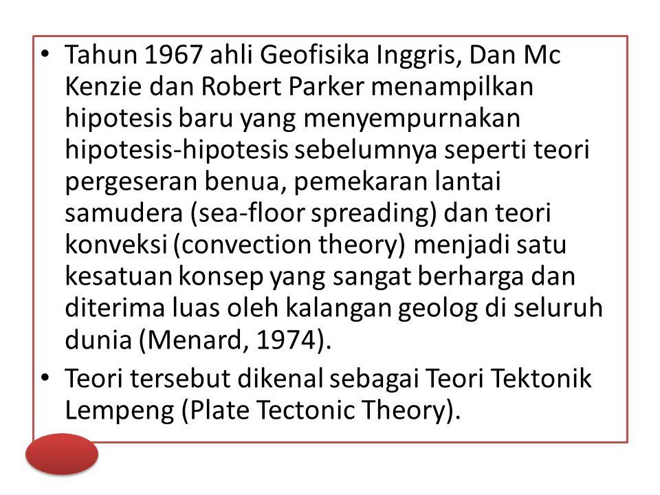Tahun 1967 ahli Geofisika Inggris, Dan Mc Kenzie dan Robert Parker menampilkan hipotesis baru yang menyempurnakan hipotesis-hipotesis sebelumnya seper
