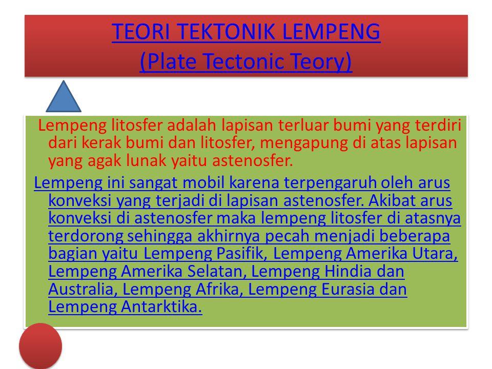 TEORI TEKTONIK LEMPENG (Plate Tectonic Teory) TEORI TEKTONIK LEMPENG (Plate Tectonic Teory) Lempeng litosfer adalah lapisan terluar bumi yang terdiri