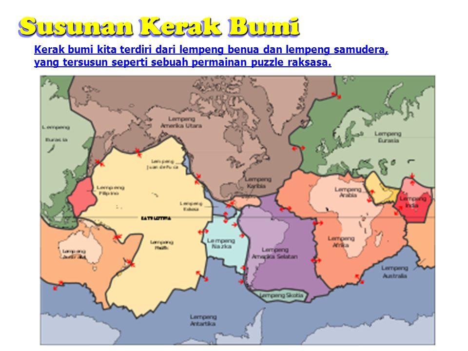 Kerak bumi kita terdiri dari lempeng benua dan lempeng samudera, yang tersusun seperti sebuah permainan puzzle raksasa. Susunan Kerak Bumi