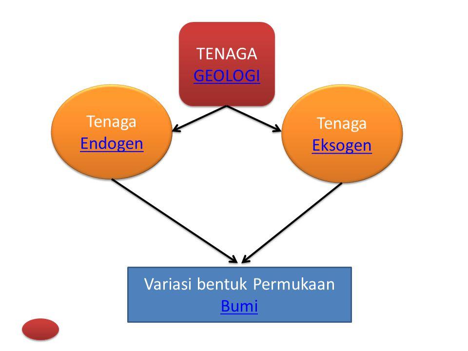Tenaga Geologi merupakan tenaga yang menyebabkan terjadinya perubahan di permukaan bumi maupun di dalam bumi bersumber dari dua heat engines (mesin yang mengubah energi panas menjadi energi mekanik), yang satu terletak di dalam bumi/TENAGA ENDOGEN dan yang lain di luar bumi/TENAGA EKSOGEN.