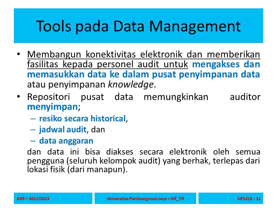 Tools pada Data Management Aplikasi database dapat dikembangkan untuk secara otomatis mengkonsolidasikan data input secara elektronik dari semua fungsi audit.