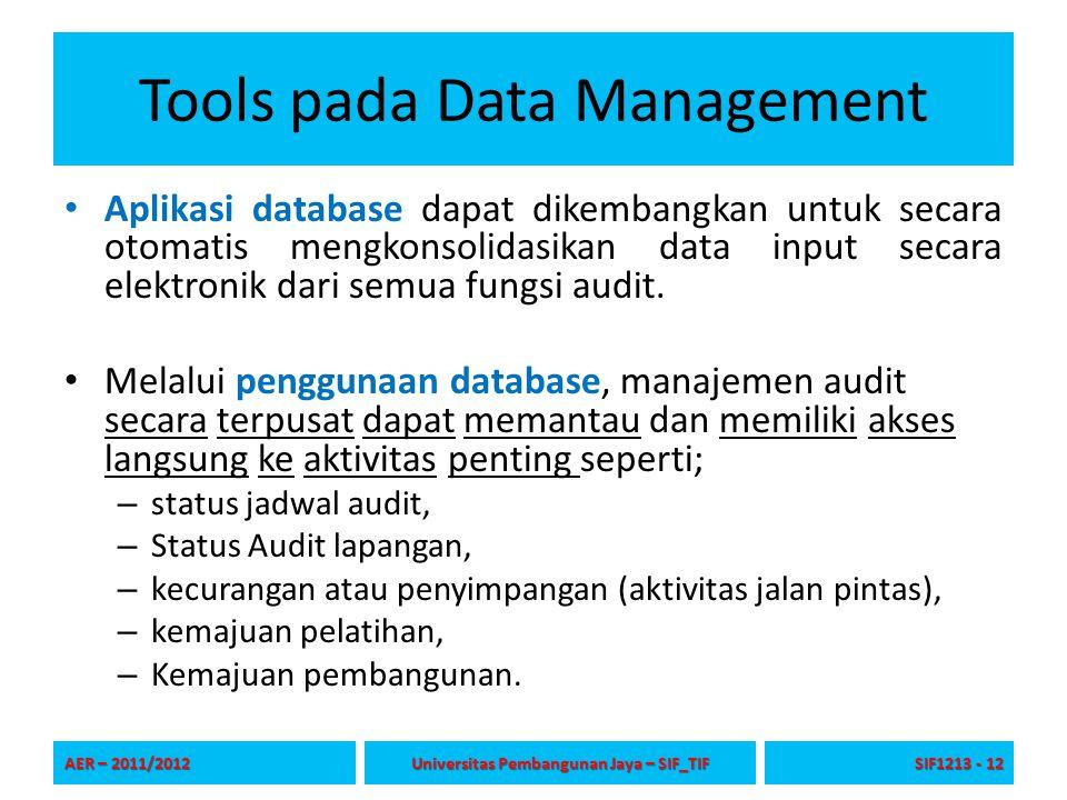 Tools pada Data Management Database dapat berisi informasi seperti; – Area-area risiko, – program audit, – temuan, – tindakan korektif, – standar industri, – praktik terbaik, – Hal-hal yang sedang dipelajari.