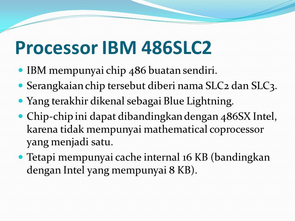 Processor IBM 486SLC2 IBM mempunyai chip 486 buatan sendiri. Serangkaian chip tersebut diberi nama SLC2 dan SLC3. Yang terakhir dikenal sebagai Blue L