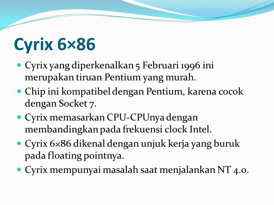 Cyrix 6×86 Cyrix yang diperkenalkan 5 Februari 1996 ini merupakan tiruan Pentium yang murah. Chip ini kompatibel dengan Pentium, karena cocok dengan S