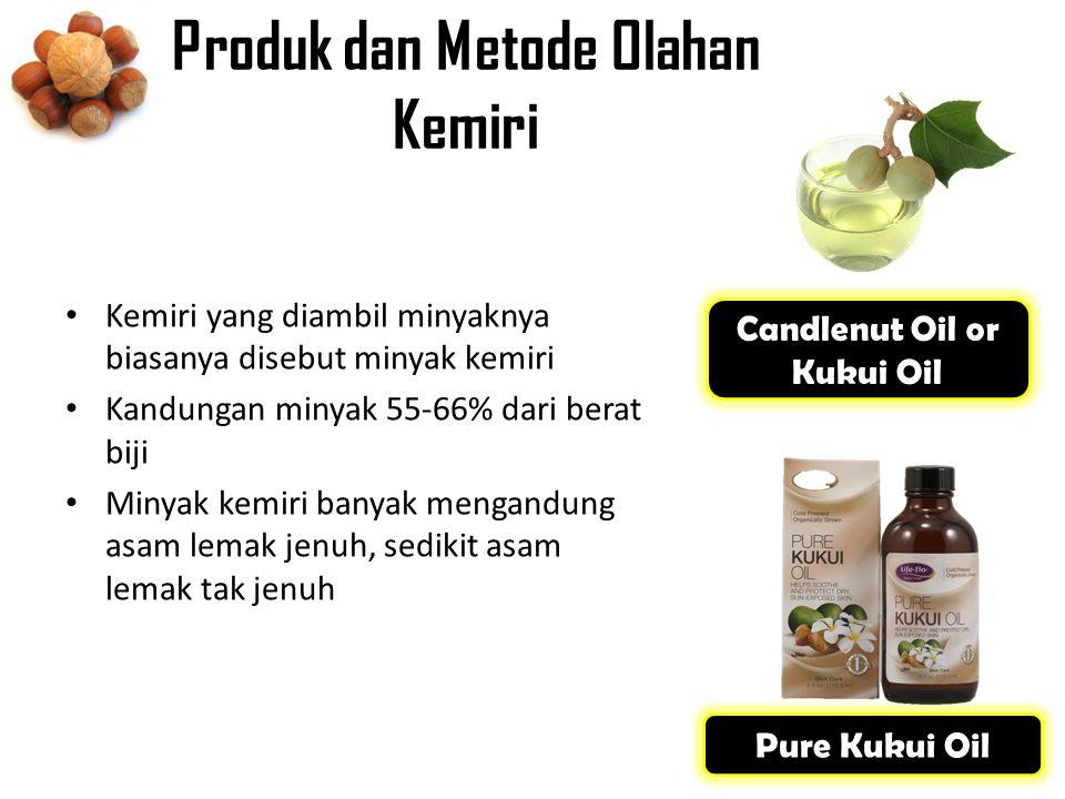 Produk dan Metode Olahan Kemiri Kemiri yang diambil minyaknya biasanya disebut minyak kemiri Kandungan minyak 55-66% dari berat biji Minyak kemiri banyak mengandung asam lemak jenuh, sedikit asam lemak tak jenuh Candlenut Oil or Kukui Oil Pure Kukui Oil