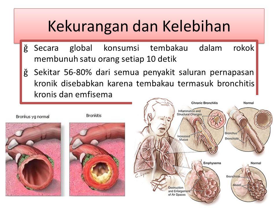 Kekurangan dan Kelebihan ğSecara global konsumsi tembakau dalam rokok membunuh satu orang setiap 10 detik ğSekitar 56-80% dari semua penyakit saluran pernapasan kronik disebabkan karena tembakau termasuk bronchitis kronis dan emfisema