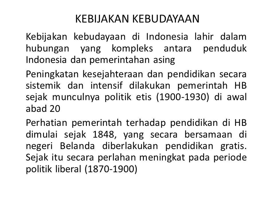 KEBIJAKAN KEBUDAYAAN Kebijakan kebudayaan di Indonesia lahir dalam hubungan yang kompleks antara penduduk Indonesia dan pemerintahan asing Peningkatan