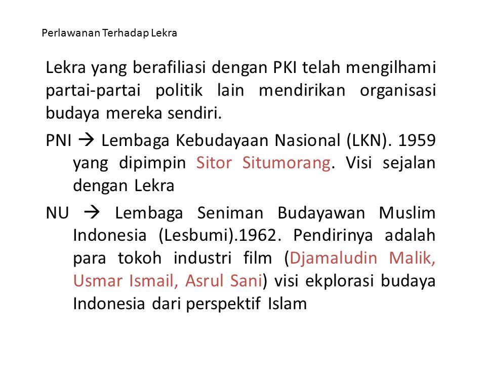 Perlawanan Terhadap Lekra Lekra yang berafiliasi dengan PKI telah mengilhami partai-partai politik lain mendirikan organisasi budaya mereka sendiri. P