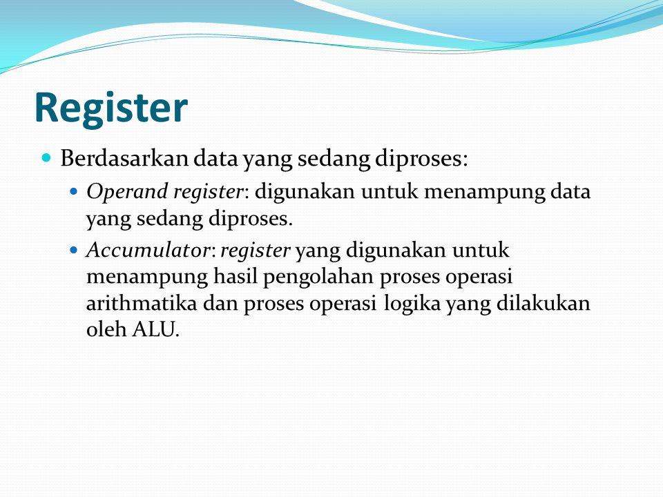 Register Berdasarkan data yang sedang diproses: Operand register: digunakan untuk menampung data yang sedang diproses. Accumulator: register yang digu