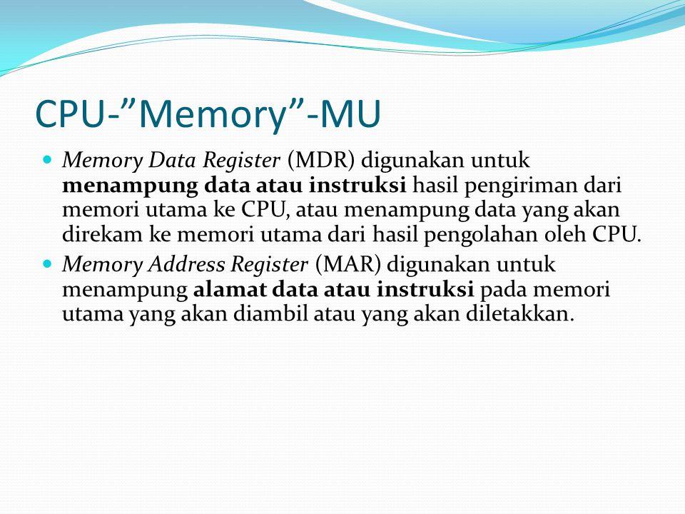 """CPU-""""Memory""""-MU Memory Data Register (MDR) digunakan untuk menampung data atau instruksi hasil pengiriman dari memori utama ke CPU, atau menampung dat"""