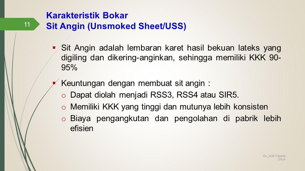 Karakteristik Bokar Sit Angin (Unsmoked Sheet/USS) 11  Sit Angin adalah lembaran karet hasil bekuan lateks yang digiling dan dikering-anginkan, sehingga memiliki KKK 90- 95%  Keuntungan dengan membuat sit angin : o Dapat diolah menjadi RSS3, RSS4 atau SIR5.