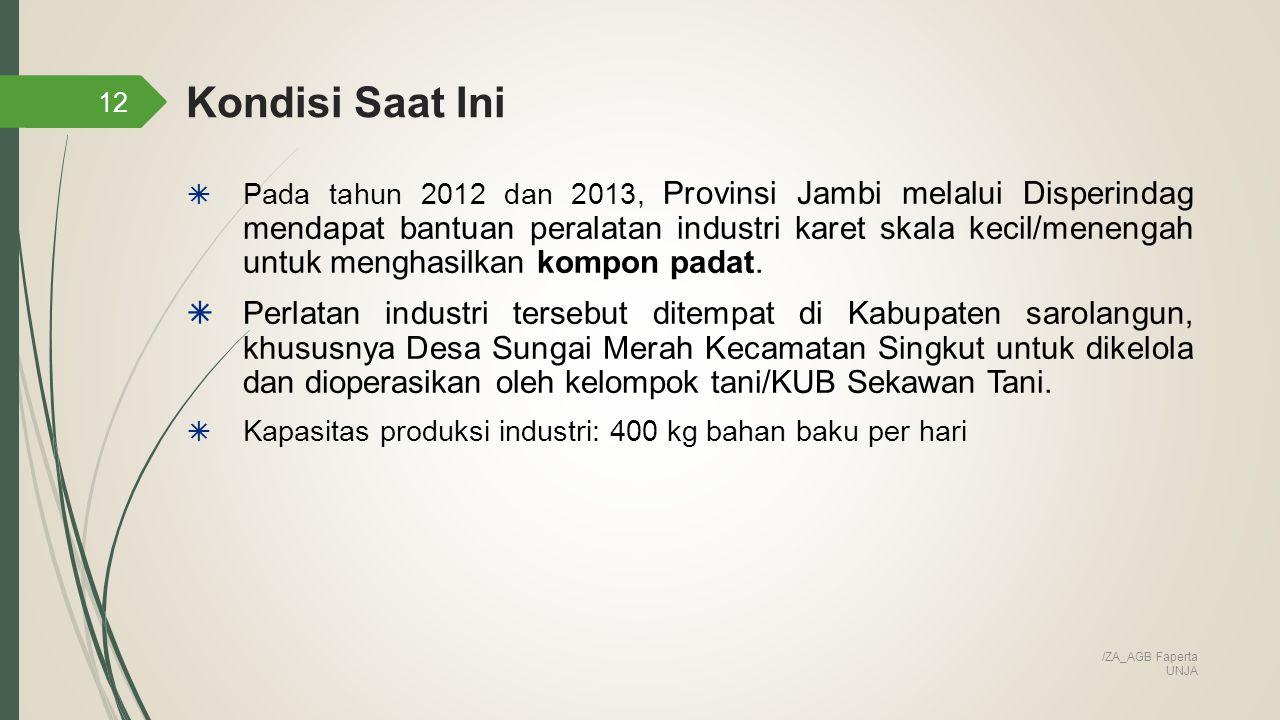 12  Pada tahun 2012 dan 2013, Provinsi Jambi melalui Disperindag mendapat bantuan peralatan industri karet skala kecil/menengah untuk menghasilkan kompon padat.