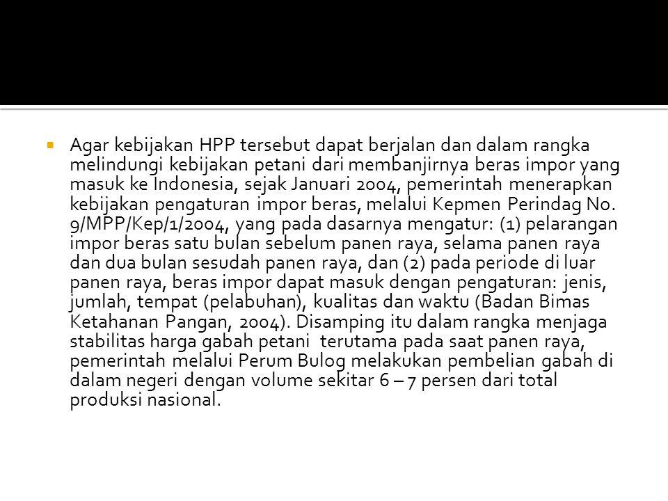  Agar kebijakan HPP tersebut dapat berjalan dan dalam rangka melindungi kebijakan petani dari membanjirnya beras impor yang masuk ke Indonesia, sejak Januari 2004, pemerintah menerapkan kebijakan pengaturan impor beras, melalui Kepmen Perindag No.