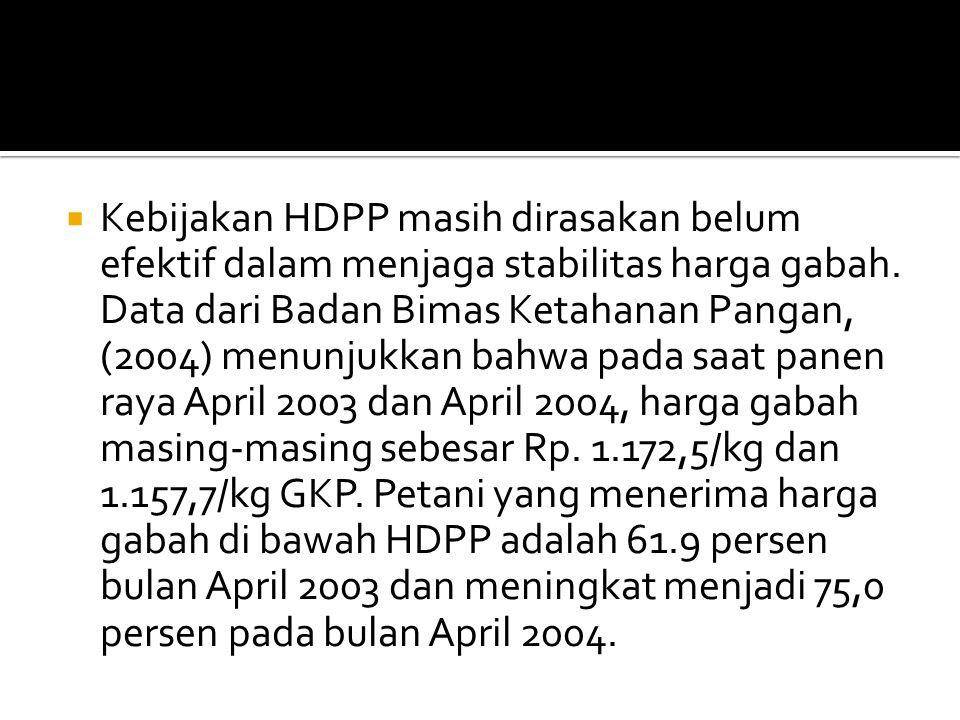  Kebijakan HDPP masih dirasakan belum efektif dalam menjaga stabilitas harga gabah.