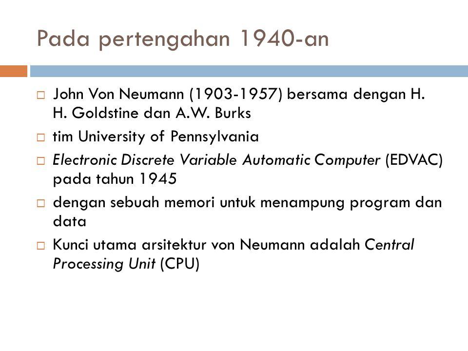 Pada pertengahan 1940-an  John Von Neumann (1903-1957) bersama dengan H. H. Goldstine dan A.W. Burks  tim University of Pennsylvania  Electronic Di